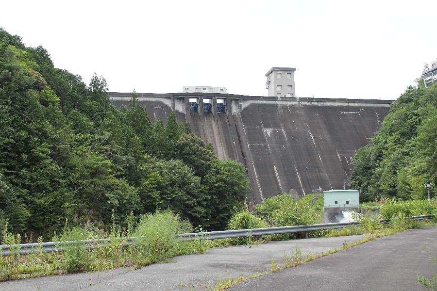 宇連ダム(下流より堤体を望む)