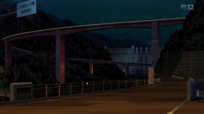 東のエデン劇場版The King of Eden(左岸下流より雷電廿六木橋と堤体下流面を見る)