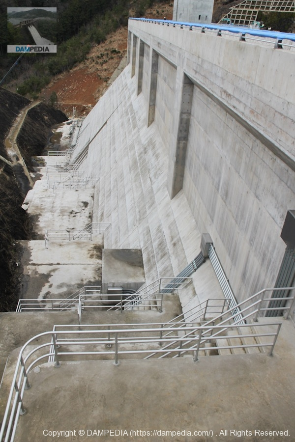 左岸のフーチングと下流側の堤体