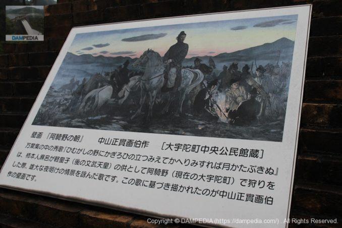 壁画「阿騎野の朝」の看板