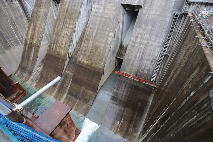 堤内仮排水路の吐口