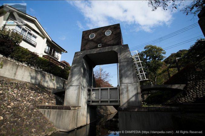 親水用の階段より下流面のロボット水門を望む