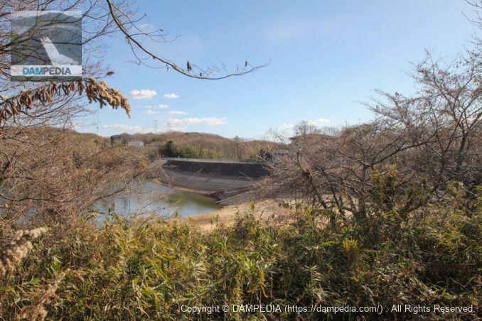 右岸より堤体上流面を望む