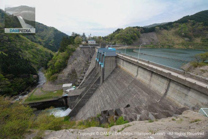 左岸の展望台より堤体下流面を望む