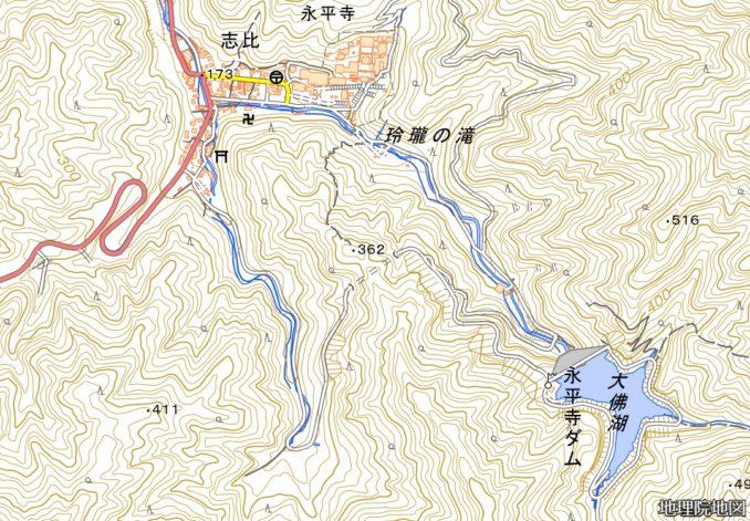 永平寺ダム周辺の地図