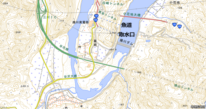 揚川ダムと揚川発電所と導水路と魚道の位置関係