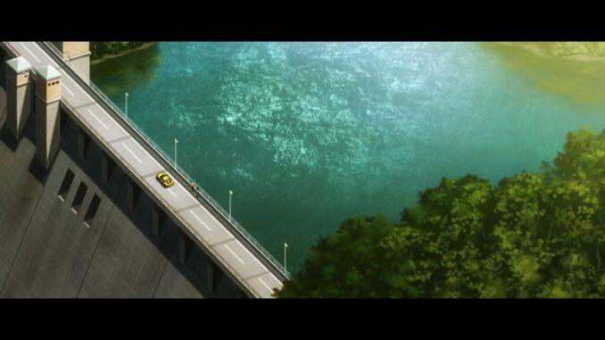 俯瞰にて堤体と貯水池を望む