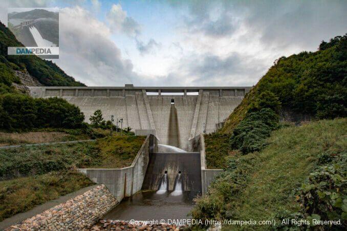 下流の橋より堤体下流面を見る