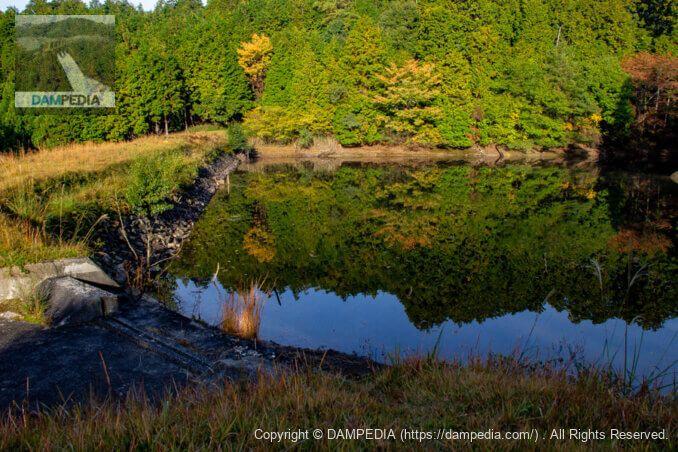 左岸より余水吐・堤体上流面・貯水池を見る