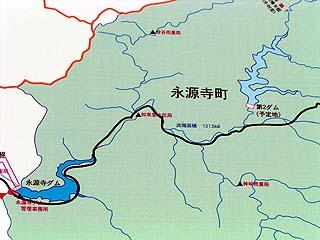 左岸ダムサイトにある看板に記された地図