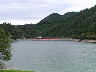 左岸より堤体(ダム湖側)を望む