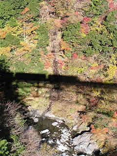 渓谷と鐡道の影と紅葉