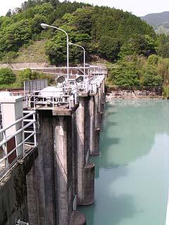 左岸(ダム湖側)より堤体を望む