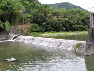 越流している堤体