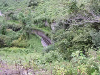 天端より下流の排水路を望む
